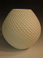 White 9x9 Pinecone by Michael Wisner (Ceramic Vessel)
