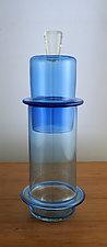 Tall Blue Ring Jar by Richard S. Jones (Art Glass Vase)