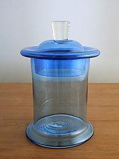 Wide Blue Ring Jar by Richard S. Jones (Art Glass Vessel)
