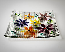 Kiln-Carved Floral Grid by Carol Green (Art Glass Tray)