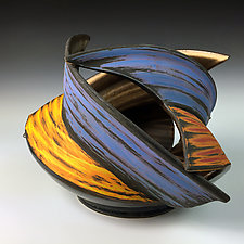Sculpted Spiral Vase I by Thomas Harris (Ceramic Vessel)