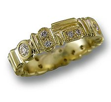 Geometrics 18k Gold Ring with Diamonds by Karina Mattei (Gold & Stone Ring)