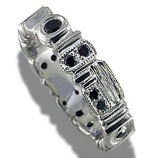 Geometrics Silver and Black Diamond Ring by Karina Mattei (Silver & Stone Ring)