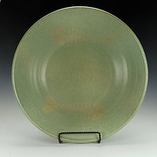 Large Shallow Bowl with Fish by Lance Timco (Ceramic Bowl)