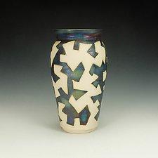 Zig Zag Raku Puzzle Vessel III by Lance Timco (Ceramic Vase)