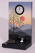 Pinkish Glow Waltz by Pascale Judet (Wood Clock)