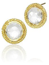 Clear Quartz Button Stud by Sara Freedenfeld (Gold & Stone Earrings)