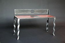 Red Bench by Carlos Page (Steel & Concrete Bench)
