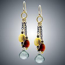 Garnet, Quartz and Vermeil Earrings by Judy Bliss (Gold & Stone Earrings)