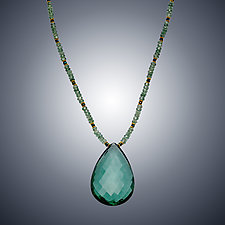 Green Quartyz Teardrop Necklace by Judy Bliss (Gold & Stone Necklace)