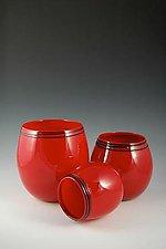 3 Siletz Baskets by Donald  Carlson (Art Glass Vase)