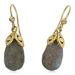 Labradore briolette drop earrings by Rona Fisher (Gold & Stone Earrings)