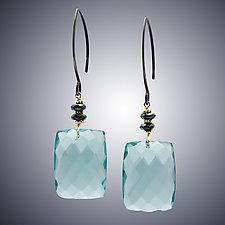 Aqua Quartz and Hematite Earrings by Judy Bliss (Silver & Stone Earrings)