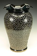 Zig Zag Puzzle Vessel with Black Gloss Glaze by Lance Timco (Ceramic Vessel)