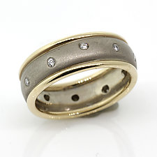 14k white band with yellow borders by Rona Fisher (Gold & Stone Ring)