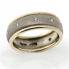 14k white band with yellow borders and white diamonds by Rona Fisher (Gold & Stone Ring)