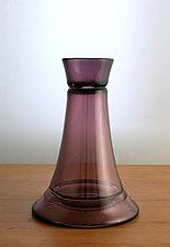 Tall Ring Vase in Heliotrope by Richard S. Jones (Art Glass Vase)