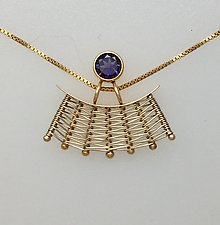 Totem Pendant with Iolite by Marie Scarpa (Gold & Stone Necklace)