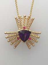 Iris Gold Pendant with Amethyst and Red Spinel by Marie Scarpa (Gold & Stone Necklace)
