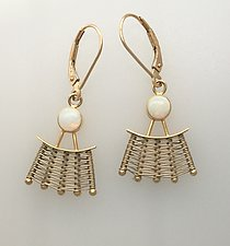 Totem Gold Leverback Earrings with Opal by Marie Scarpa (Gold & Stone Earrings)
