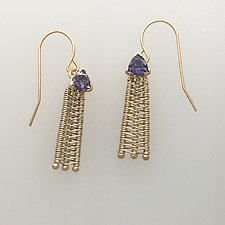 Woven French Wire Earring with Iolite by Marie Scarpa (Gold & Stone Earrings)