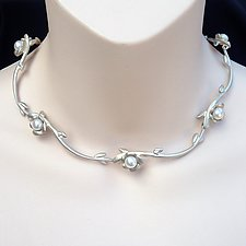 Carved Silver Flower Pearl Collar by Kathleen Lynagh (Silver & Pearl Necklace)