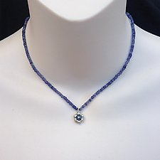 Small Silver Flower with Pearl and Iolite Necklace by Kathleen Lynagh (Silver & Pearl Necklace)