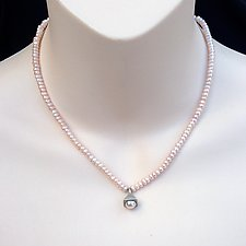 Bell Pearl Pendant on Pink Pearl Strand Necklace by Kathleen Lynagh (Silver & Pearl Necklace)