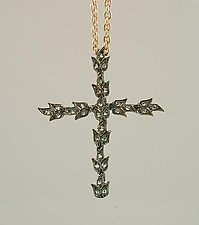 Tulip Cross by Mevesh Ozagar (Silver & Stone Necklace)