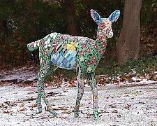 Floral Landscape Deer by Jonathan I. Mandell (Mosaic Sculpture)