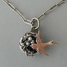 Birds Nest Necklace by Thomas Mann (Silver & Pearl Necklace)