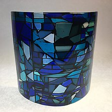 Mosaic in Blue Sculpture by Amanda Taylor (Art Glass Sculpture)