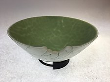 Cracked Surface in Green by Amanda Taylor (Art Glass Vessel)