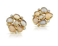 Moonstone and Diamond Earrings by Pamela Huizenga  (Gold & Stone Earrings)