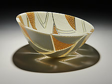 Arrows Bowl in Honey and Cream by Patti & Dave Hegland (Art Glass Bowl)