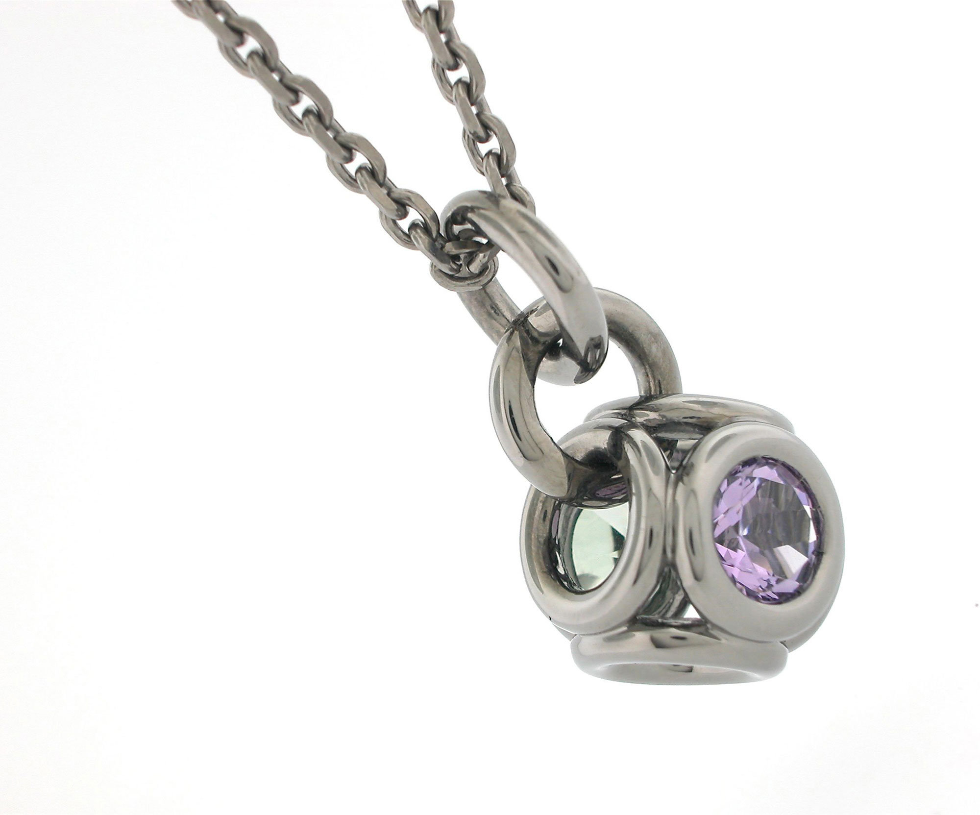 Torus Pendant 1 in Blackened Silver with Lavender and Green Amethyst
