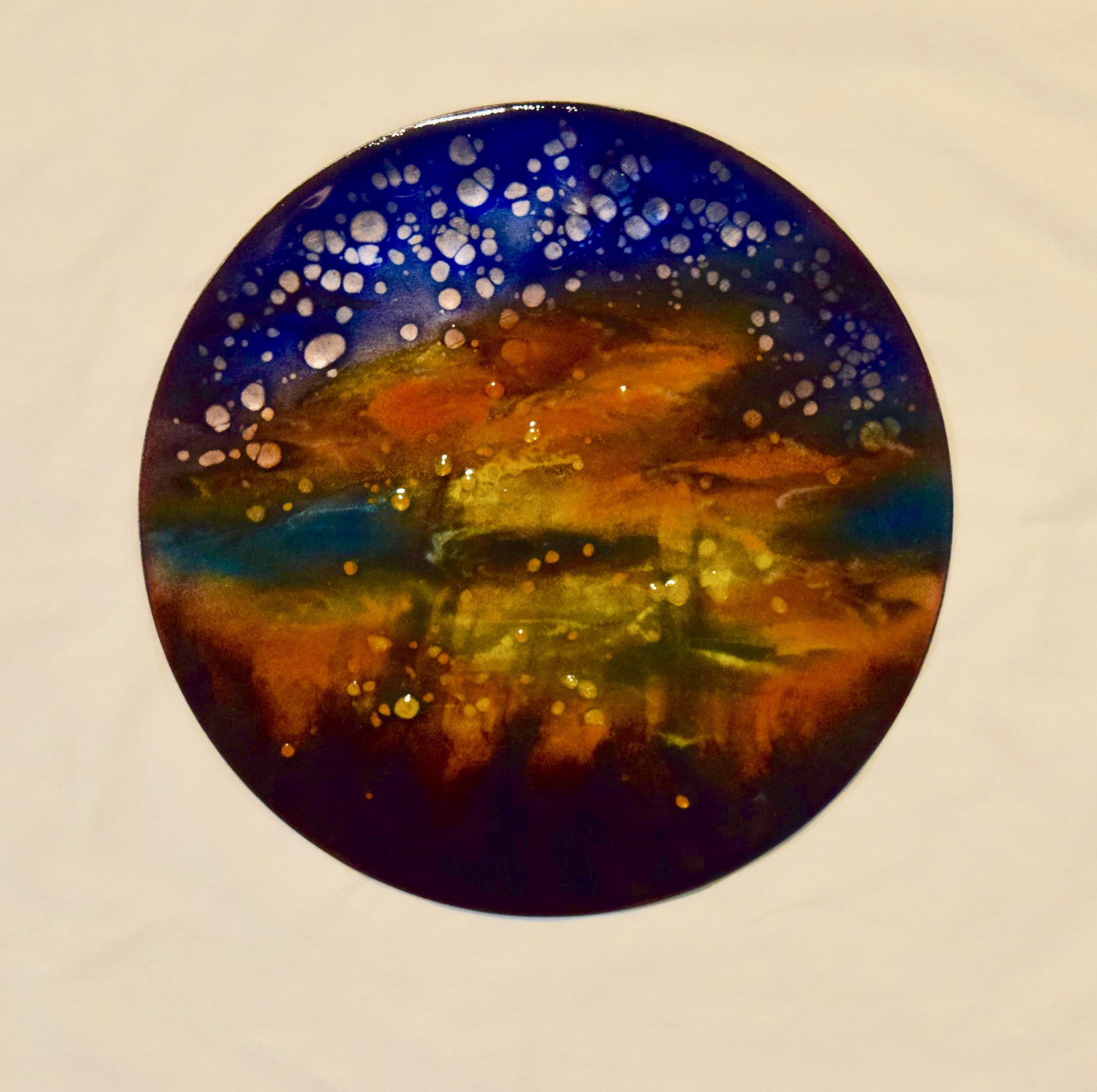 Mysterious Sunset Disc By Cynthia Miller Art Glass Wall
