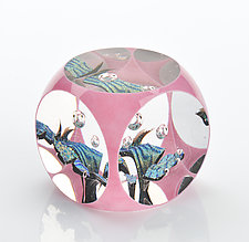 Li'l Pink Cube by Benjamin Silver (Art Glass Paperweight)