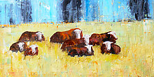 Herefords in the Rain by Janice Sugg (Oil Painting)