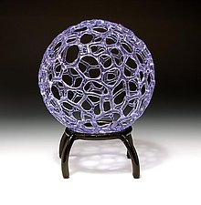 Lavender Sphere with Stand by Bandhu Scott Dunham (Art Glass Sculpture)