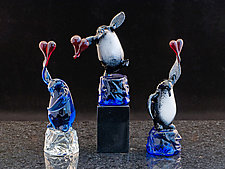 Penguin with Heart by Paul Labrie (Art Glass Sculpture)