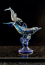 Spotted Dolphin and Baby by Paul Labrie (Art Glass Sculpture)
