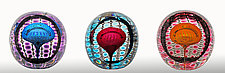 Jewel Faceted Round Paperweight by Thomas Philabaum (Art Glass Paperweight)