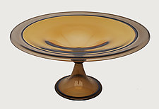 Olive and Gold Centerpiece Bowl by Minh Martin (Art Glass Bowl)