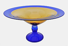 Blue and Gold Centerpiece Bowl by Minh Martin (Art Glass Bowl)
