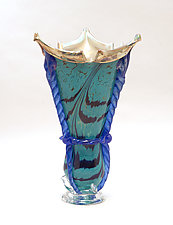 Turquoise Silver Blue Gold Jester by Dierk Van Keppel (Art Glass Vase)