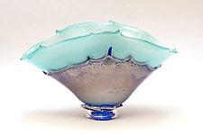 Turquoise with Silver Blue Overlay by Dierk Van Keppel (Art Glass Vessel)
