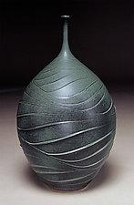 Large Green Wave Bottle by Nicholas Bernard (Ceramic Vessel)