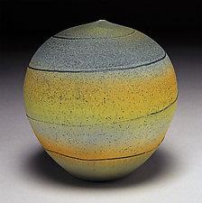 Blue Green Spiral by Nicholas Bernard (Ceramic Vessel)
