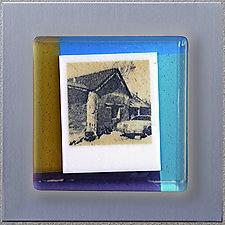 Adobe House - Dixon NM (1039) by Doug Gillis (Art Glass Wall Sculpture)